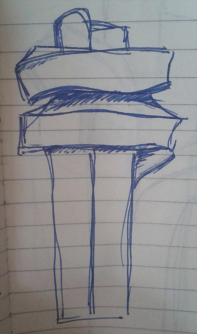 Dibujo de Ida-Kajsa sobre obra Abrazo XI de Chillida